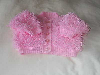 Hand Knitted Baby pink Loopy Cardigan 9-12months