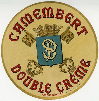 """CAMEMBERT DOUBLE CRÊME SP"" Etiquette-chromo originale fin 1800"