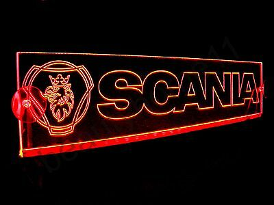 24 Volts SCANIA With LOGO ENGRAVED ILLUMINATING RED LED NEON PLATE 24V/5W.