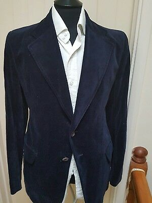 Mens Blue Vintage Velvet smoking jacket size 42R