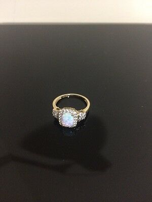 Opal Ring 10ct Yellow gold with Cubic Zirconia