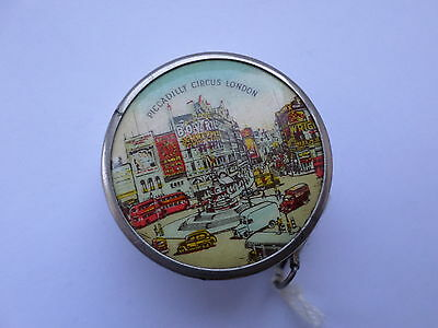 Vintage sewing notion tape measure of Picadilly Circus