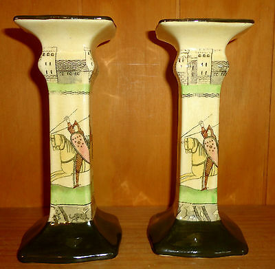 Royal Doulton Bayeux Tapestry D2873 *ULTRA RARE* Pair of Candlesticks UNRECORDED