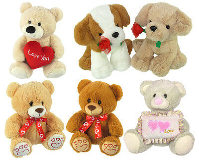 Cuddly Soft Toy Heart Rose Love You Teddy Bear Puppy Valentines Birthday Gift BN