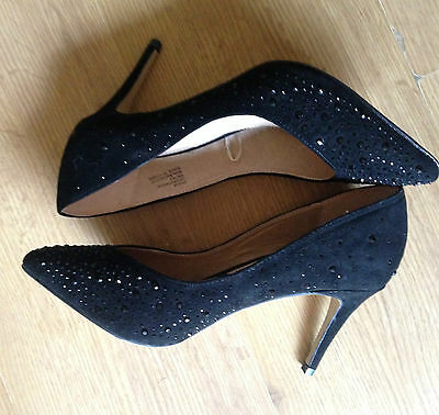 Womens FIORE Black Sequinned Court Shoes Size 5*BNWOB*