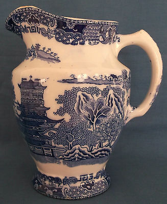Vintage Maling Willow Blue White Large Jug Made In England