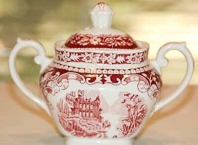 Petrus Regout Maastricht China Sphinx Sugar Bowl Red Castle Landscape With Lid
