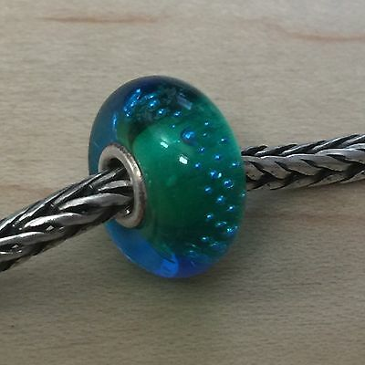 Genuine Trollbeads 'Silver Trace Green & Turquoise' Glass Bead, Charm(s), #61356