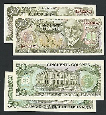 Costa Rica     50 Colones     Lot of 2 with Consec. Numbers     1993   AU-UNC