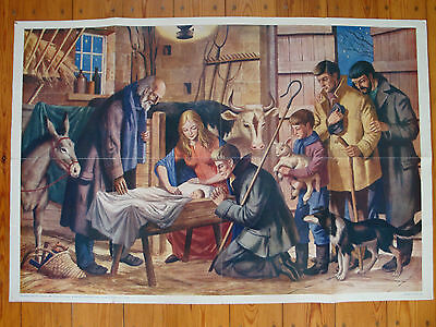 Vintage School Child Education Poster Mary Joseph & Baby Jesus John Harwood '62