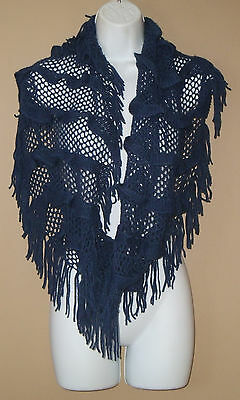 Womens Fashion Solid Blue Loose Knit Fringed Cowl Infinity Scarf Neck Wrap