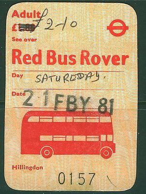 GB London Transport £2.10 handwritten on £1.80 Red  Bus Rover dated 21 FBY 1981