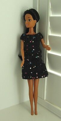 Hand Knitted Sequinned Black Dress For Barbie/sindy Type Doll