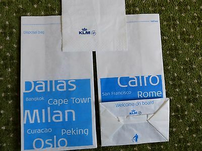 Two KLM Sick Bags and One Napkin, perfect, NEW