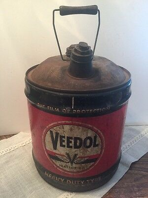 Vintage VEEDOL Tractor Oil Gas Station Can Tidewater Flying V 5 Gallon