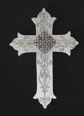 "Italian Florentine style Wall hanging ornate CROSS 8"" Religious wall Art"
