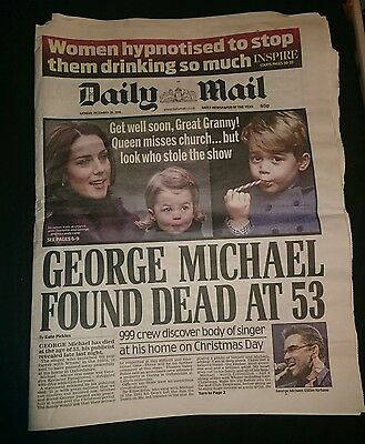 George Michael death the daily mail newspaper 26/12/16