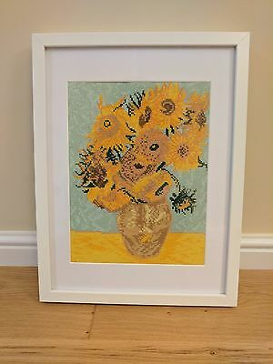 Completed Cross Stitch Van Gogh Sunflowers Framed
