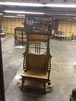 American Antique Golden Oak Hall Tree With Seat