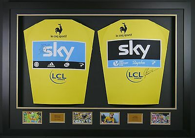 Wiggins and Froome Double Signed Yellow Jerseys 3d Framed Display +COA