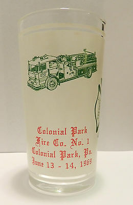 Vintage 1969 Colonial Park PA (Harrisburg) Drinking Glass Dauphin County Fire Co