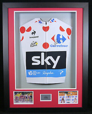 Chris Froome Signed King of the Mountains Spotty Jersey 3d Framed Display +COA