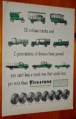 Vintage 1957 Firestone Tires Ad With Old Trucks Chevy Ford International