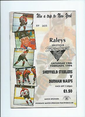 93/94  Sheffield Steelers v Durham Wasps Feb 19th