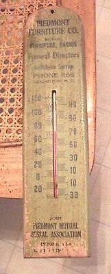 """Vintage Collectible Vintage """"PIEDMONT FURNITURE CO."""" NC Advertising Thermometer"""