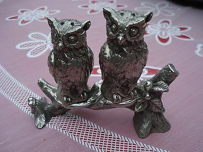 Set Of Vintage Silver Plated Owl Salt & Pepper Shakers With Stand