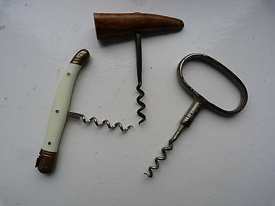 3 lovely made old  antique & collectable corkscrews.