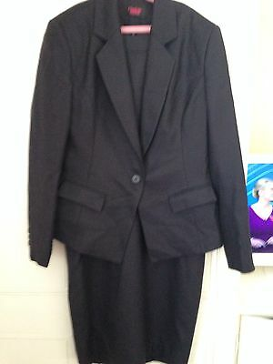 Navy 3 Piece Suit Dress Blazer & Skirt Size 10 Charlotte Stiffell Fitted Lined