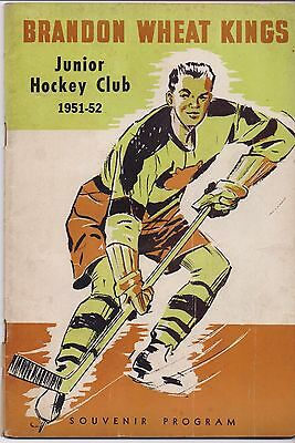 ICE HOCKEY PROGRAMME - BRANDON WHEAT KINGS v  WINNIPEG BLACK HAWKS 1951-52