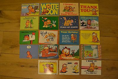 19 vintage Garfield postcards. All unused. All different. 1980s.