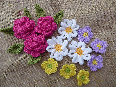 12 Handmade Crochet Flowers with Leaves Applique or Embellishments