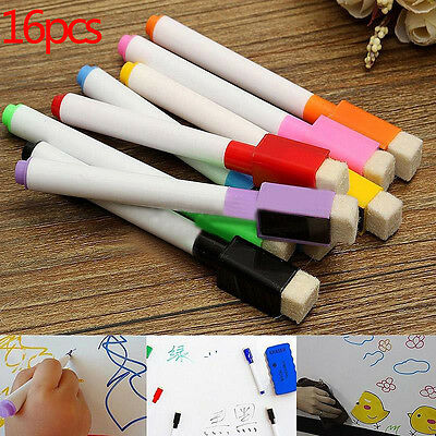16Pcs Whiteboard Marker Pens with Magnetic Eraser Cleaner School Home Beauty
