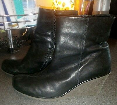 Ladies GABOR Black Leather Wedge Ankle Boots UK 6 Perfect Condition