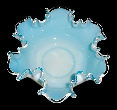 "Mt. Washington Light Blue Cased White Opalescent 10"" Wide x 4.5"" High Fruit Bowl"