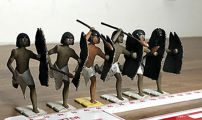 6 Vintage Britand Ltd Painted Lead Toy Soldiers - Egyptian Warriors?  Excellent