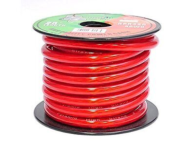 Pyramid RPR425 4 Gauge Clear Red Power Wire 25 Feet OFC