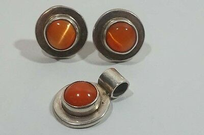 D232 Vintage Sterling Mexico Pendant & Push back Earrings Set with Orange Lucite