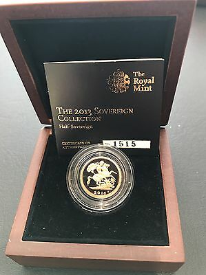 2013 Gold proof half sovereign with Royal Mint box and COA