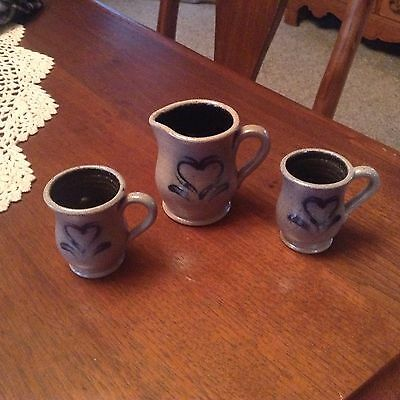 Miniature Rowe Pottery Stoneware Pitcher And Cups Set 1990