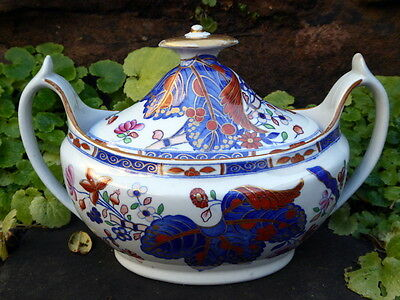 Early Spode Handpainted Sucrier & Cover - Circa 1815 To 1830