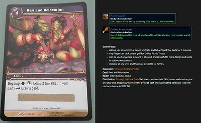 Rest and Relaxation World of Warcraft Loot Card unscratched, Picnic Basket