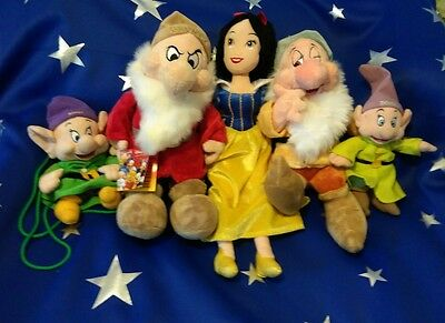Disney Store Grumpy Plush Snow White Bashful Dopey Backpack Beanbag Seven Dwarfs