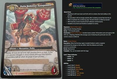 Robotic Homing Chicken World of Warcraft Loot Card unscratched, Rocket Chicken