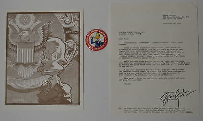 HOWARD The DUCK For PRESIDENT BUTTON, PIN UP, Gerber APOLOGY LETTER Mail PREMIUM