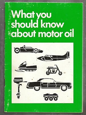 Vintage Manual What You Should Know About Motor Oil - Quaker State 1970