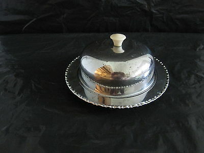 Collectable Vintage chrome butter dish with glass insert